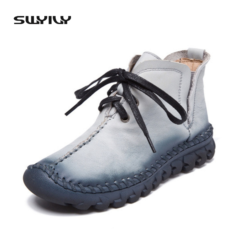 2017 New Winter Women Retro Boots Handmade Ankle Boots Flat Boots Real Genuine Leather Shoes Women Non Slip Warm Shoes <br>