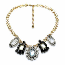 Chic 2014 Newest Statement Factory Direct Wholesale Crystal Choker Necklace 2014 Women Vintage Display Stand(China)