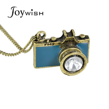 Vintage Jewelry maxi necklace Anitque Gold-Color Long Chain Colorful Enamel Camera Pendant Necklace Top Selling collier femme(China)