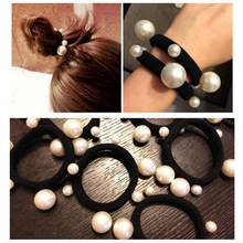 LOEEL New Hair Band Rope Elastic Ponytail Holder Different Sizes of Pearl Rubber Band for Girls Women Hair Jewelry Accessories