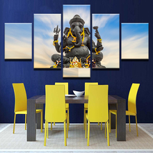 Modern Wall Art Poster Frame HD Printed Canvas Pictures 5 Panel Elephant Head God Ganesh Living Room Modular Cuadros Painting(China)