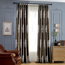 Slow Soul Lamp Quality Velvet Curtain Brown European And American Embroidered Curtains For Living Room Blackout Kitchen Bedroom