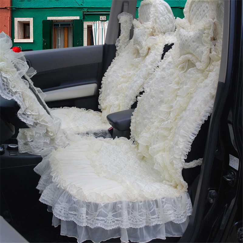 14pcs Beige Elegant Customed For Women Car Seat Covers Bride Seat Cushions Full Set Lace Embroidery Wedding Car HB09(China (Mainland))