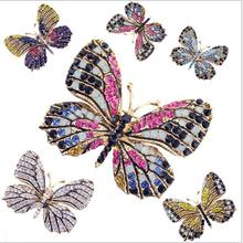 5Pcs/Lot New 3.5x4.5cm women's colorful colorful butterfly brooch corsage flower Korean exquisite chestnut clothing accessories