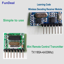 433 Mhz Mini Wireless Receiver and Transmitter Remote Control Learning Code 1527 Decoder Module 4 Ch output With Learning Button