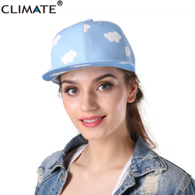 CLIMATE Cute Lovely Macarons Pink Blue Color Snapback Caps Sky Cloud Adjustable HipHop Hat White Cloud For Women Girls(China)