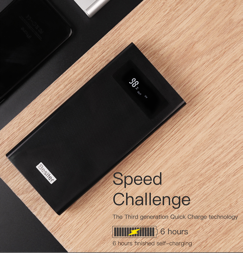 Besiter Power Bank 000 mAh For Xiaomi Mi 2 Quick Charge 3.0 PowerBank Portable Charger External Battery For iPhone Pover Bank 17