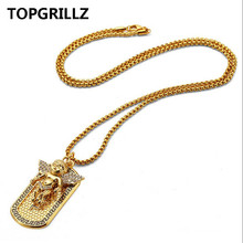 TOPGRILLZ Hip Hop New Style Hot Sales Personality Trend Angel Army Card Necklace&Pendant Gold Color HipHop Jewelry For Men Women(China)