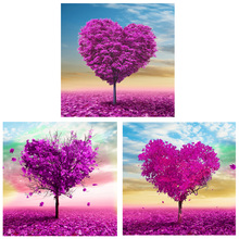 35*35cm DIY Diamond Embroidery Purple Tree 5D Diamond Painting Love Tree Sticker Cross Stitch Mosaic Home Decor