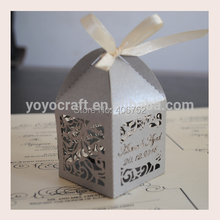 Red Color Packaging Box free name logo Laser Cut Wedding Favor Packaging Boxes Wedding Chocolate Packaging Box(China)