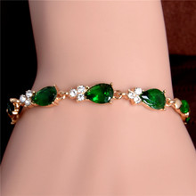 SHUANGR Hot Gold Color Beautiful Waterdrop Austrian Crystal Women's Bracelet Wedding Party Jewelry Wholesale