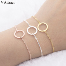 V Attract Rose Gold Filled Karma Circle Charm Bracelet & Bangle Women Men Boho Jewelry Stainless Steel Chain Pulseras