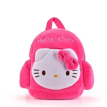KAWAII !! Plush 2 Layer Hello Kitty Backpacks Kindergarten School Bag Best Chirstmas Gifts for Kids Girls 1-3 Years Olds 32*30CM(China)