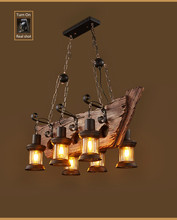 abajour Original Design Retro Industrial Pendant Lamp 3/6 Head Old Boat Wood American Country style Nostalgia Light  abajour