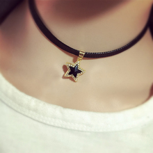 90's Punk Gothic Black Cord Choker Crystal Star Charm Choker Necklace Leather Pendant Bib Collar Free shipping