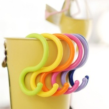 Best Choice 6Pcs/Lot Candy Color S Shape Hook Multi-purpose Baby Stroller Hook Hanger Clothing Plastic Hook Clasp Rack(China)