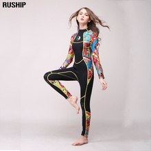 SEAC High quality 3mm women neoprene wetsuit color stitching Surf Diving Equipment Jellyfish clothing long-sleeved piece fitted(China)
