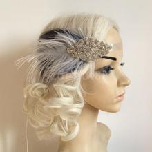 Diamante Fascinator Feather 1920s Headpiece Flapper Hairband Great Gatsby Headband Women Hair Accessory