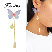 FANHUA 1pc Bohemian Style Colorful Butterfly Earrings Gold-Color Long Chain Geometric Charm Drop Earrings Female 2 styles