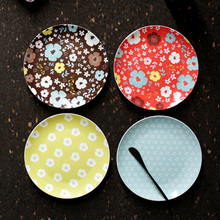 In-glazed Decoration Plate Floral Printed Round 8 Inch Dishes Plates Ceramic tableware Bone China Cake Dessert Steak Fruit Dish(China)