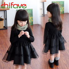 2017 Chifave Latest Girls Elegant Organza Dress Little Girl Slim Black Tutu Lace Dress Kids Girls Autumn Winter Fashion Dress