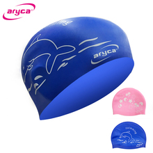 Aryca Waterproof Silicone Print Swimming cap Bathing Children Kids Unisex 2Colors For Boys And Girls CAP006C-002(China)