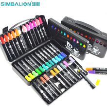 SIMBALION Kids Manga Markers Painting Sets Children Watercolour Pen Painting Pen Brush Art Supplies For Drawing Graffiti Marker
