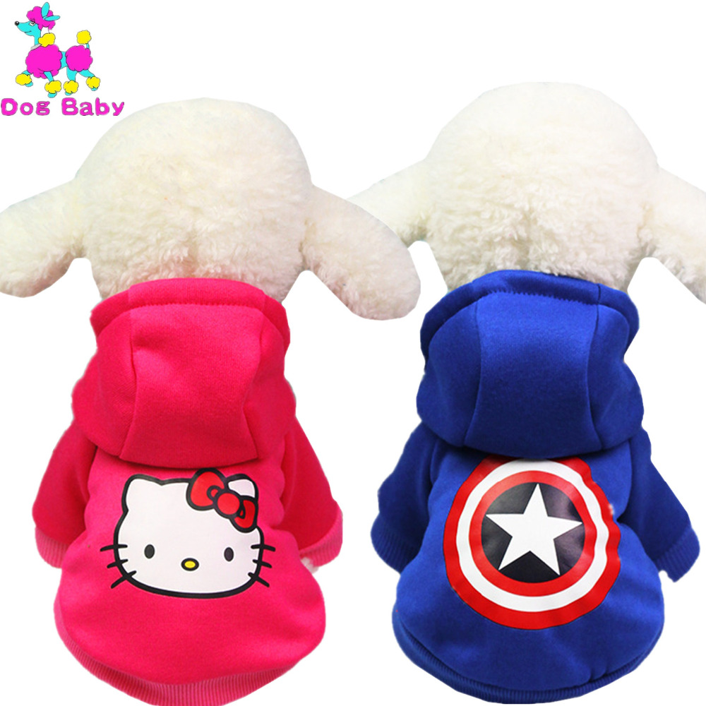 DOGBABY Hello Kitty Pattern Dog Clothes Warm Winter Pets Coat Fleece Two Legs Hat Jacket For Cats Dogs Pink Blue Colors Costume