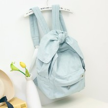 Girls Women Denim Backpacks with Big Bow Fashion Trends Female Back Bags Jeans Cloth Big Capacity Blue Backpacks Travel Bag 517
