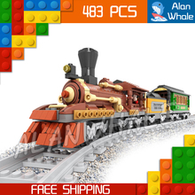 483pcs Train Creator Classical Steam locomotive Trains 25809 Model Building Blocks Bricks Set Railway Toys Compatible With lego