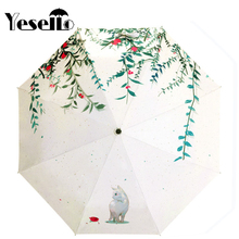 Yesello Forest Cat Original Design Three Folding Umbrella 8 Rib Wind Resistant Frame For Women Lady