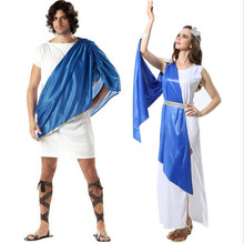 new Halloween Couple clothing Greek Goddess Clothing Elegant Queen Cosplay Fancy Dress Carnival Halloween Costumes for Women Men