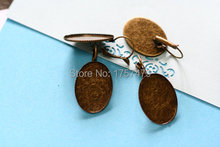 Free ship! Wholesale 200pcs thick antique bronze finish earring base - oval pad inner size is 25x18mm(China)
