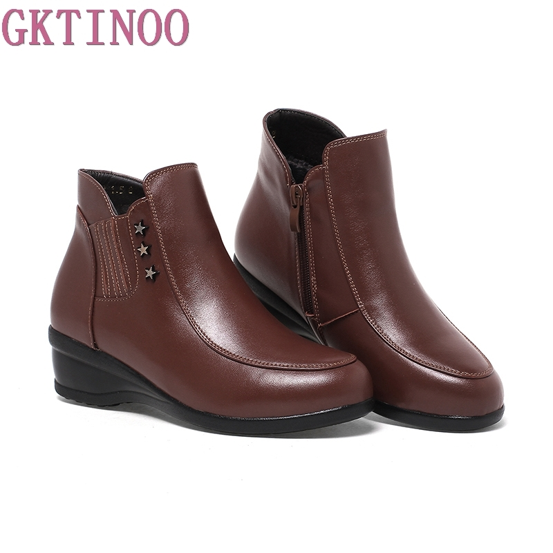 Wedges Women Boots 2018 New Platform Shoes Woman Genuine Leather Ankle Boots Fashion Winter Women Shoes <br>