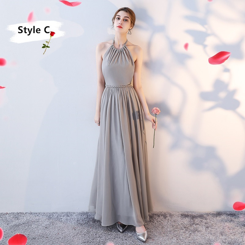 SOCCI Weekend Long Bridesmaid Dresses 2017 Sliver Sleeveless Sister Dress Grey Off shoulder Formal Wedding Party Gowns Robe de 7