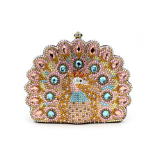 BL047 Luxury diamante evening bags colorful clutch bags women party purse dinner bags crystal handbags gemstone wedding bags(China)