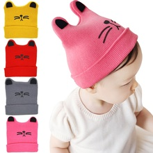 Moeble Cartoon Cat Ear Toddler Hats Winter Milk Boy Baby Caps Boy Warm Knitted Newborn Hats Infant Girls Beanies Skullies H040