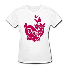 Work Shirts Short Sleeve Women Fashion Crew Neck Veganism Vegan Heart With Butterflies T Shirts