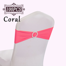 Ship FREE 100PCS/ Lot Wedding Chair Cover Sashes Elastic Spandex Chair Band Bow With Buckle for Weddings Event Party Accessories(China)