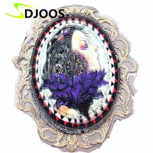 Dancing Girl Embroidered Patches for Clothing Biker Motorcycle Iron-on Applications Patches for Clothes Jeans Jackets Fashion