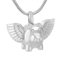 IJD9732 Flying Pig Cremation Memorial Jewelry With Angel Wing Stainless Steel Cremation Urn Necklace Ashes Holder For Pet(China)