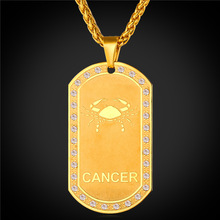 2016 Zodiac Charms CANCER Pendant Necklace Women Jewelry Gift Rhinestone Gold Color Necklace Dog Tags For Men P1824(China)