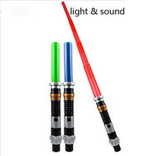 Kids Toys Action Figure Weapons Wars Lightsaber with Light Sound Led Blue Saber Darth Vader Jedi Wars laser Sword Toy(China)
