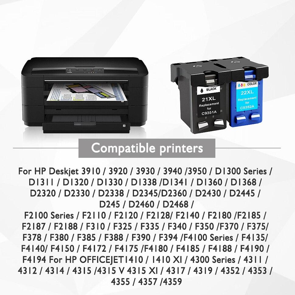 No-name Remanufactured C9351A C9352A Ink Cartridges Replacement for HP 21 22 XL 21XL HP21XL HP21 HP22 DeskJet D1360 D1368 D1415 D1420 F2140 F2180 F2187 F2188 F2210 F2212 F2214 Printer 2 Black