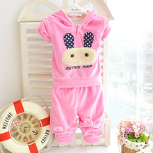 Children's Clothing  2016 New Spring and Autumn Baby Cartoon Baby Velvet Suit Baby Set