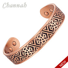 Channah 2017 Men Bio Fashion Magnetic Antique Bangle Big Wide Powerful Health Copper Bracelet Jewelry Gift Wristband Charm(China)