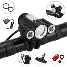 10000LM 3x XML T6 LED 4.2v Adjust angle Front Bicycle light Bike Lamp Headlight with Battery+Back Tail Light(China)