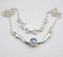 Chanti International Solid Silver RAINBOW MOONSTONE Adjustable Chain DECO Necklace 17 5/8 Inches(China)