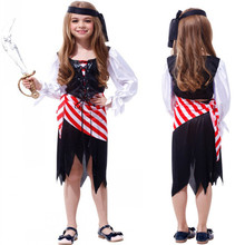 2017 New Arrive Children's Day Pirate Costumes Girls Party Cosplay Costume For Children Kids Lovely Playful Halloween Clothes(China)