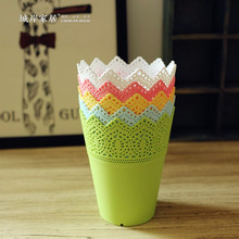 High grade Floral hollow design flower vase solid color decorative home small cheap plastic vase for wedding decoration